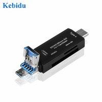 KEBIDU-Lector de tarjetas multifunción 3 en 1 tipo C, Micro USB 3,0 tipo OTG c, adaptador mini de tarjetas para SD, Micro SD, TF