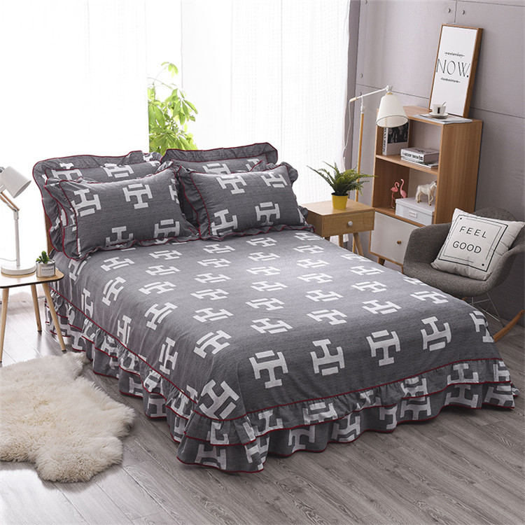 Bed Skirt Polyester Printing Type Multicolor Bedcover  Soft Bedspread Bedroom Wedding Decor King Size No Pillowcover Yaapeet
