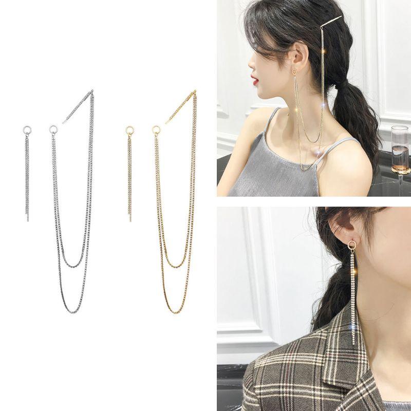 Elegante imitação de pérolas barrettes cabelo aperto assimétrico longo borla cristal duplo-uso clipes de cabelo brincos de gota para mulher