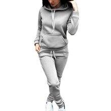 Ranberone 2-Piece Sportswear FitnessSsolid Color Ladies Sportswear Hooded Pullover Sweatshirt casual pants suit sportswear