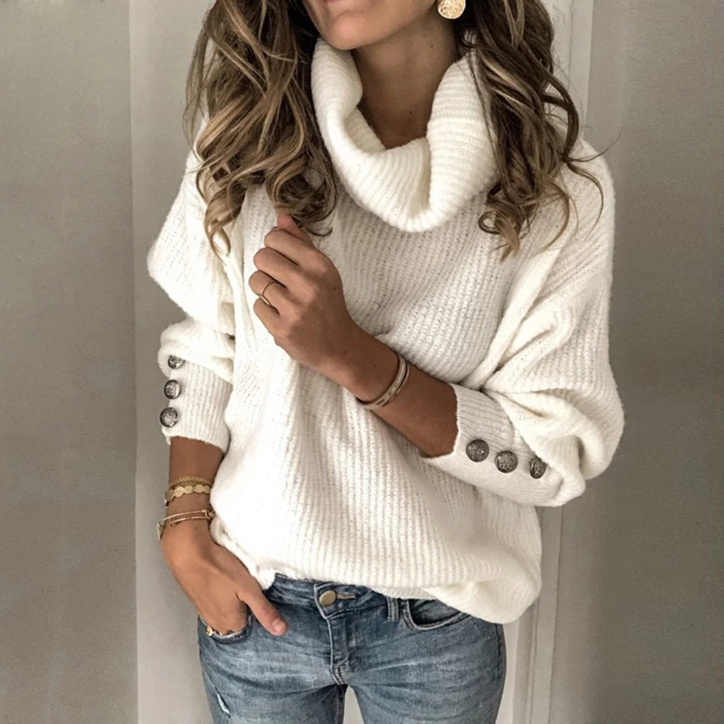 Women Turtlneck Sweaters For Ladies Pullover Tops Loose Casual Spring Blouse Plus Size Puff Sleeve Shirts Dropshipping
