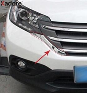 Image 1 - Für Honda CRV 2012 2013 2014 ABS Chrom Front Grills Dekorative Abdeckung Rahmen Trim Gitter Dekoration Streifen Formteile zubehör