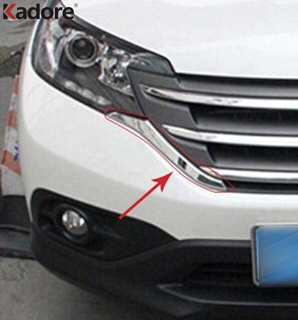 Für Honda CRV 2012 2013 2014 ABS Chrom Front Grills Dekorative Abdeckung Rahmen Trim Gitter Dekoration Streifen Formteile zubehör