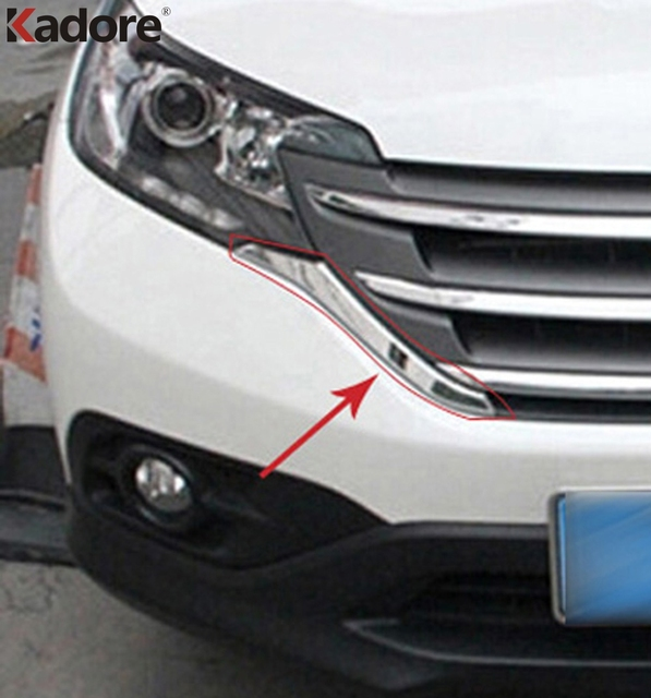 For Honda CRV 2012 2013 2014 ABS Chrome Front Grills Decorative Cover Frame Trim Grilles Decoration Strip Moldings accessories
