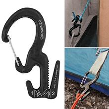 Small Aluminum Rope Tightening Mechanism With Flexible Carabiner Clip Hook For Camping