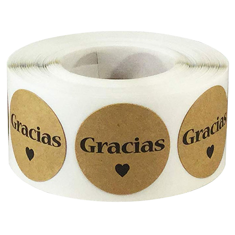 Christmas Decorations For Home And Wedding Party Decoration Gracias Spanish Thank You Natural Kraft Stickers 1Inch 500 Labels/Ro