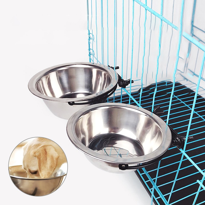 Stainless Steel Dog And Cat Bowl Hanging Fixed In Pet Cage Removable Drinking Water Food Storage Bowl Pet Supplies