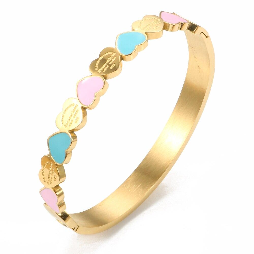 Женский браслет с синей и розовой эмалью, браслет золотого цвета с подвеской, ювелирное украшение для свадьбы