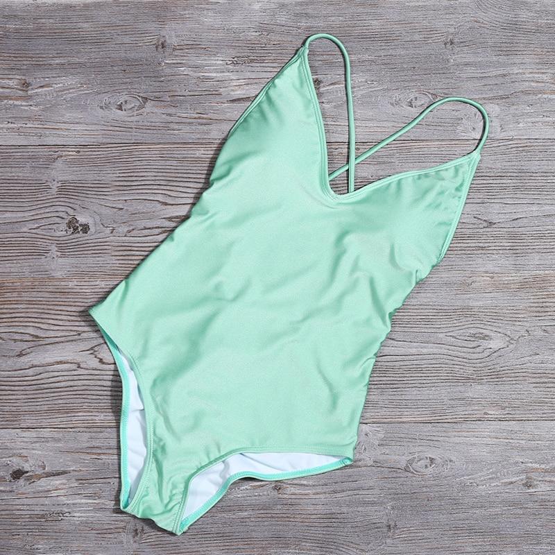 Women Solid Bikinis Sexy Bandage One Piece Backless Swimsuit Female Bathing Suits Bodysuit Beach Wear New Swim Suit Monokini 5
