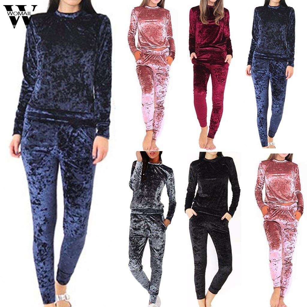 Womail Women Tracksuit Autumn Warm Velvet Two Piece Set Tracksuit Soft Home Suit  Sweatershirt Top +long Pant Set Sportswear 101