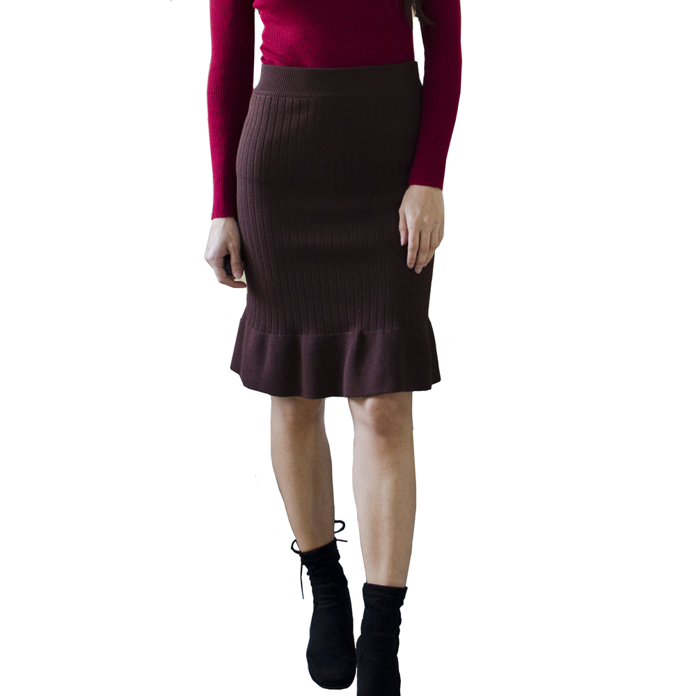 Ladies Elastic Band Women Skirts Autumn Winter Warm Office Knitted Bodycon Straight Skirt Ruffles Ribbed Mid-Long Skirts Female
