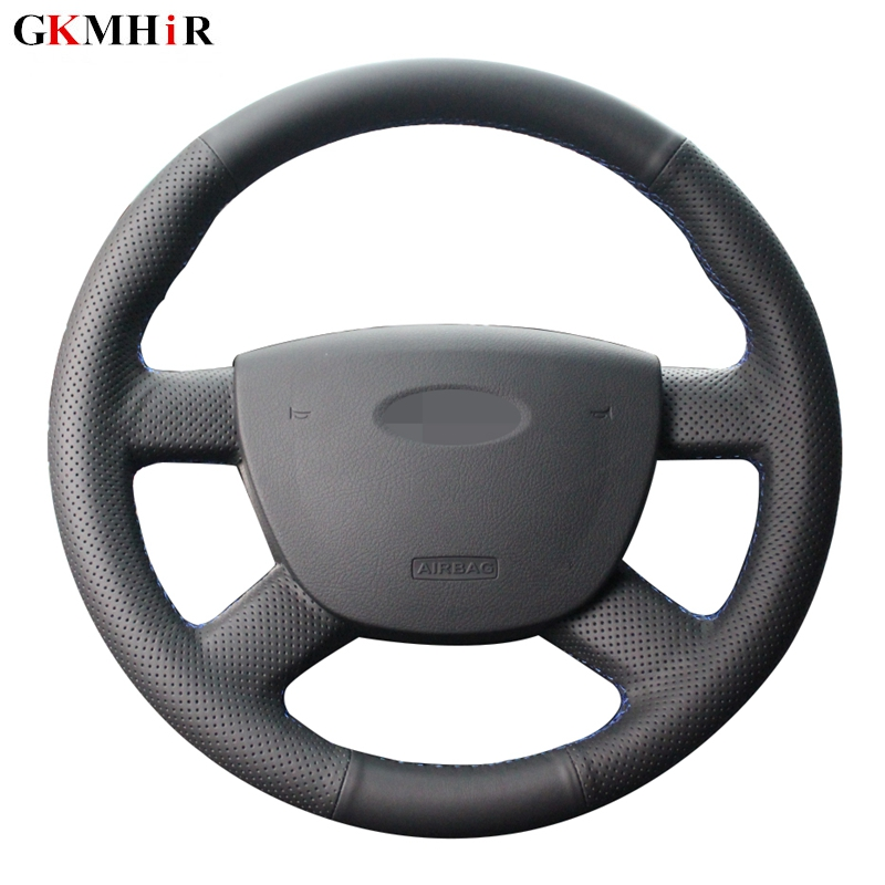 Steering-Wheel-Cover Transit Focus C-MAX Ford Hand-Stitched Black Car Kuga Artificia title=
