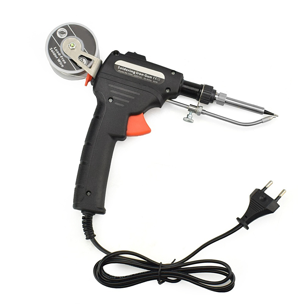 Soldering Iron Suit Soldering Tool Electric Iron Kit Hand Held Durable Portable Adjustable 60W Black Internal Heat Type
