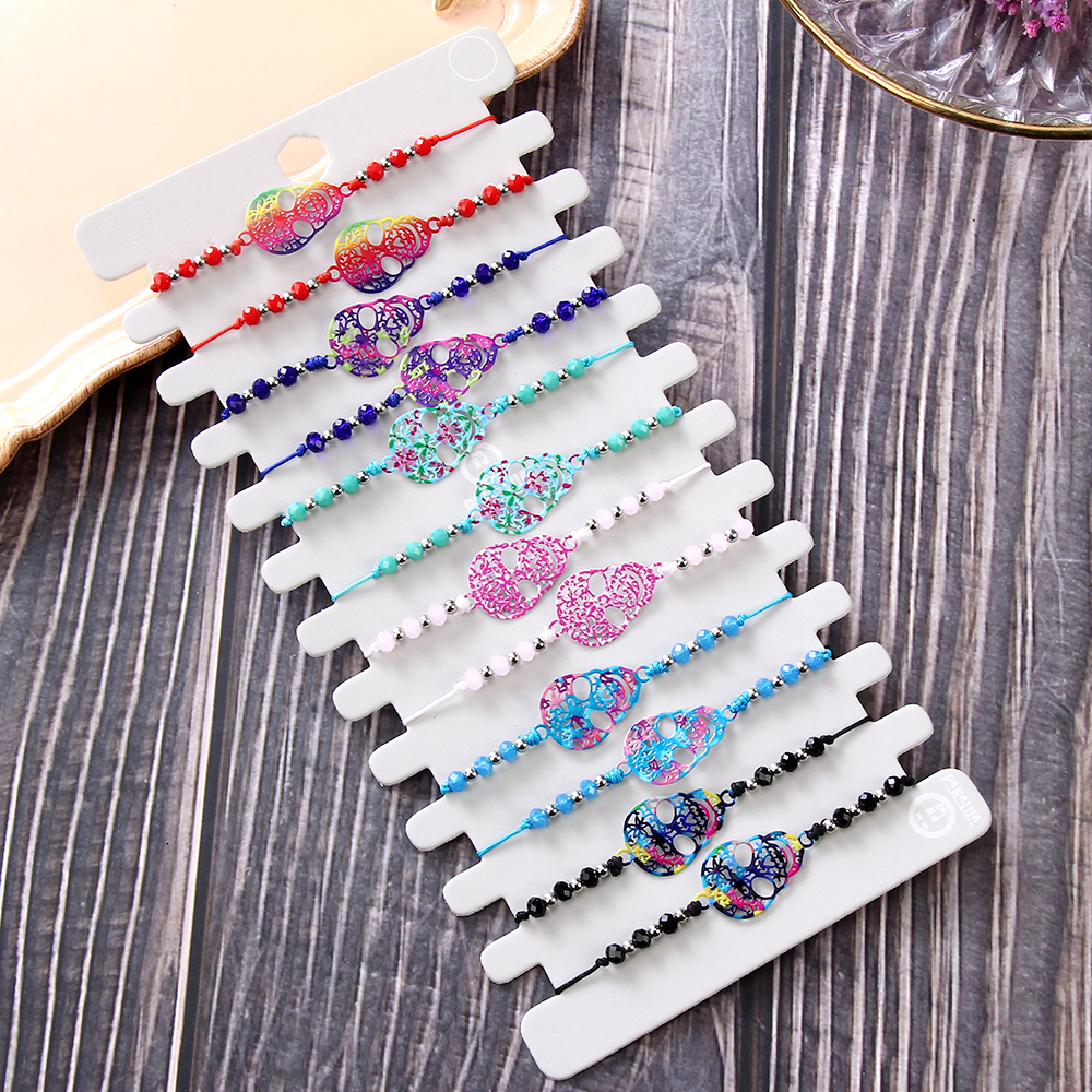 Bohemian 12pcs/lot Colorful Wax Rope Hollow Skull Beads Bracelet Woven Lace Adjustable Charm Anklets Women Girl Kids Jewelry