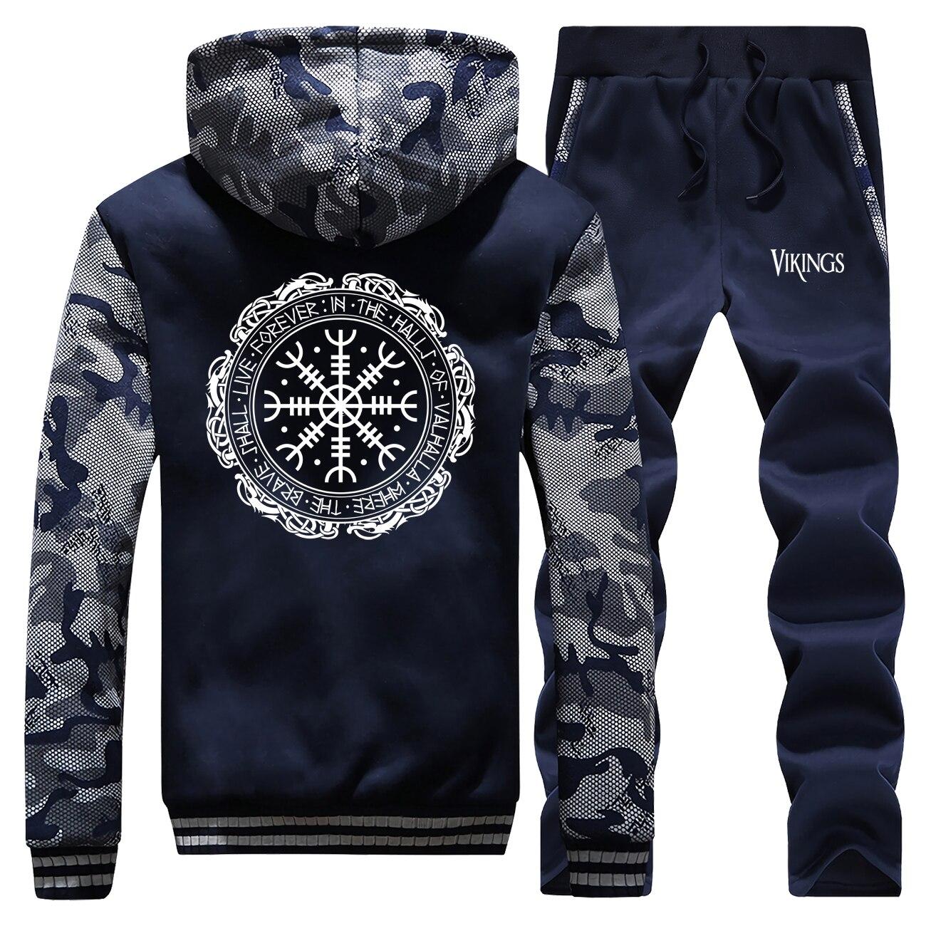 Viking Valhalla Odin Coat Camouflage Tracksuit Men Fashion Warm Thick Hoodies Sweatshirt Suit Winter Jacket+Pants 2 Piece Sets
