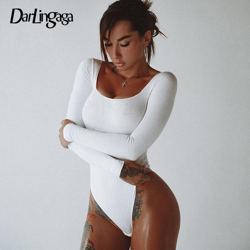 Darlingaga Casual Solid Cotton Skinny Body Bodysuit Women Autumn Basic Long Sleeve Bodysuits Sheer Rompers Womens Jumpsuit 2019