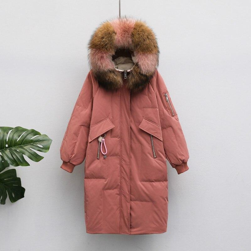 90% White Duck Down Jacket Women Raccoon Fur Collar Down Coat Winter Coat Women Warm Parka Casacos KTL2060 YY1030