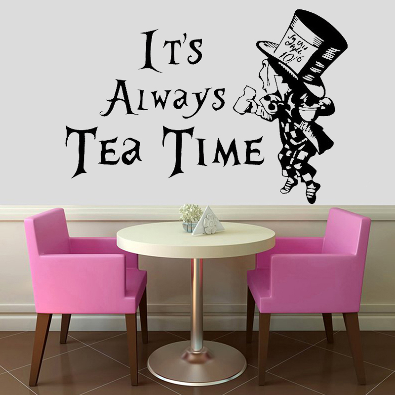 Hatter Wall Sticker Alice In Wonderland Decal Cartoon Home Decor Stickers Kids Room Decoration Quote Tea Time Aliexpress