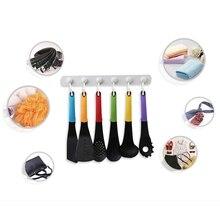 Многофункциональный кухонный крюк для хранения держатель с 6 крючками настенный дверной держатель Вешалка стойка для ложки Совок органайзер для ванны, кухни