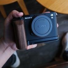 Wood Hand Grip Plate Bracket  with Alum Base Plate Bracket For Sony A7C