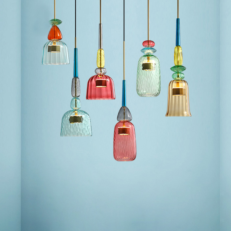 Nordic Color Candy Pendant Lights modern Living Room Bedroom Childrens Room Single Head Glass Hanging Lamps Home Decor Fixtures-in Pendant Lights from Lights & Lighting