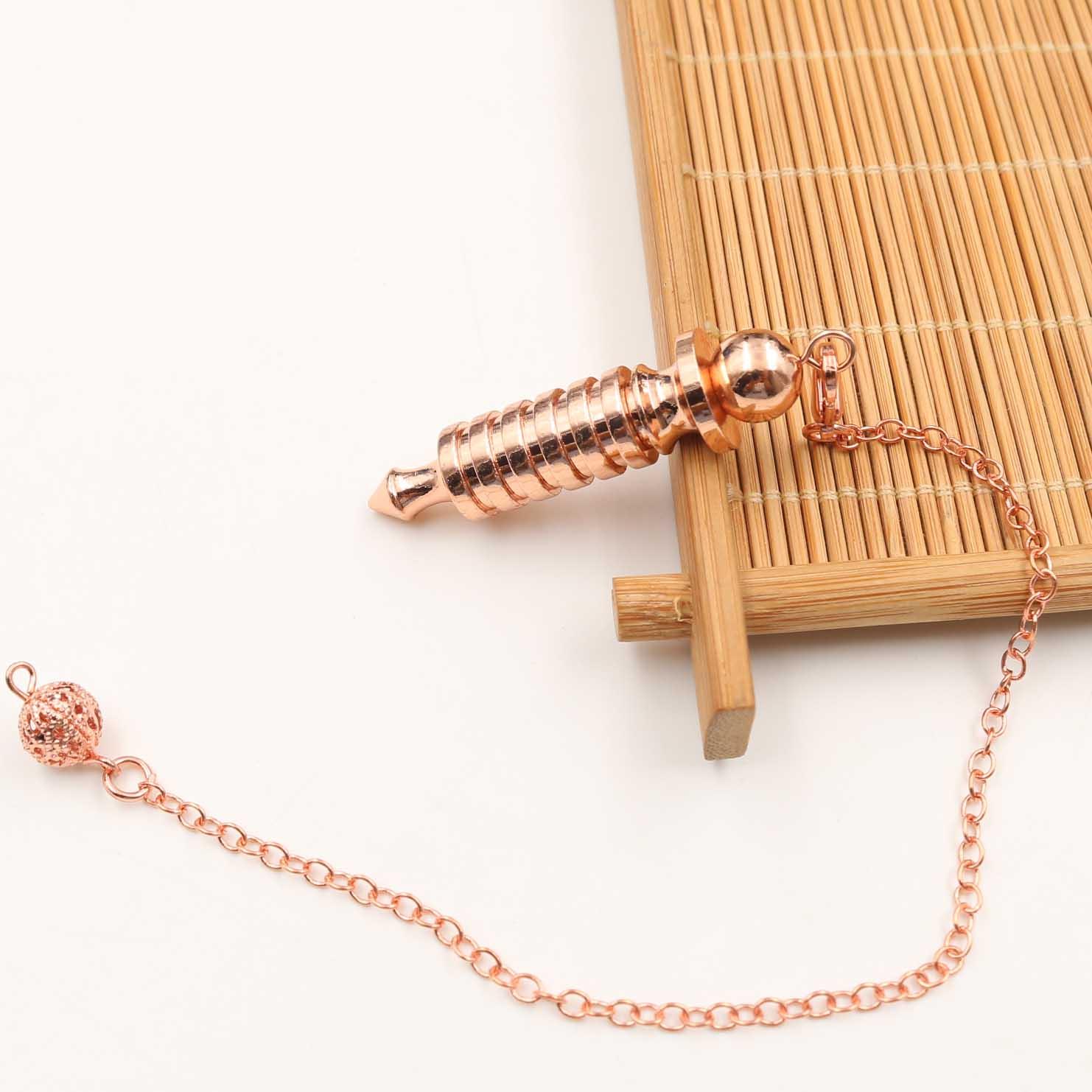 Metal Amulet Spiral Cone Copper Pendulum Dowsing Pyramid Pendule Reiki Jewelry