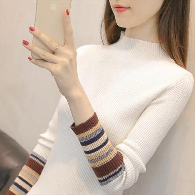 Casual Stripe O-Neck Female Fashion Warm Knitted Sweater Pullover Autumn Knitwear Sueter Mujer Long Sleeve Women New 2019 Woman