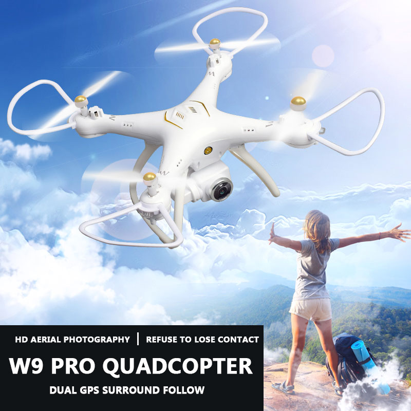 W9 Pro 4CH 6 Axis RC Drone 720P Electronic Control Camera FPV GPS Professional Helicopter Auto Return Quadcopter