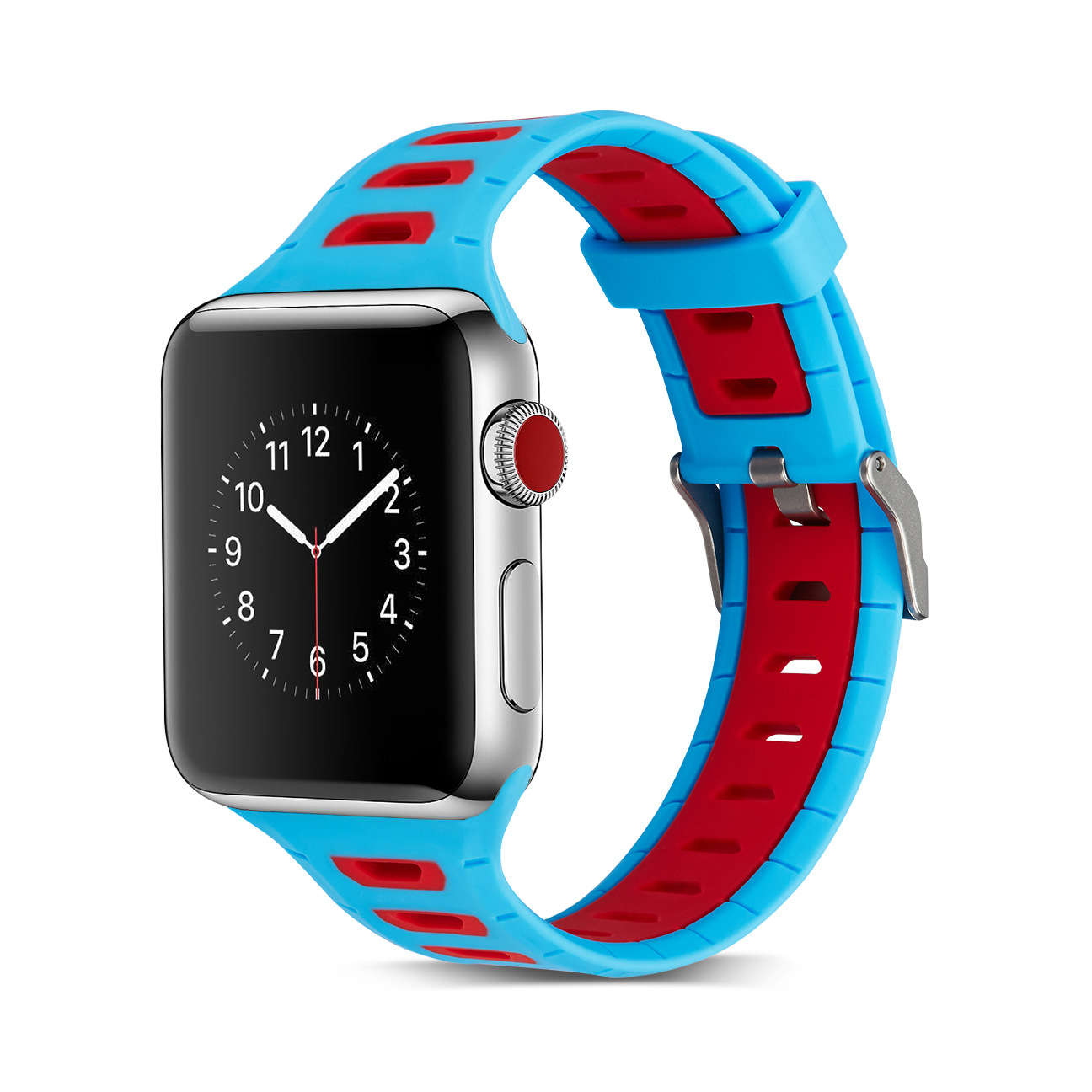 For Apple Contrast Color Silicone Watch Strap Double Color Watch Strap Nike Watch Strap Applewatch1/2/3 Watch Strap