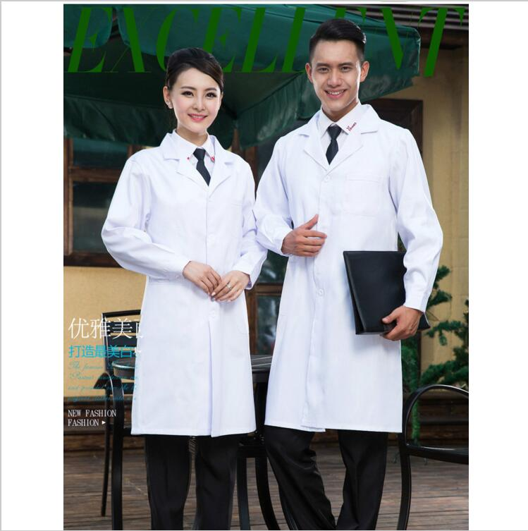 Long Sleeve Women/Men White Medical Coat Nurse Services Uniform Medical Scrub Clothes White Lab Coat Hospital Doctor Clothes