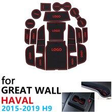 Anti Slip de Borracha Almofada Copo Porta Mat Groove para Great Wall Haval 17 H9 2015 ~ 2019 2016 2017 2018 Pcs Acessórios mat para o telefone