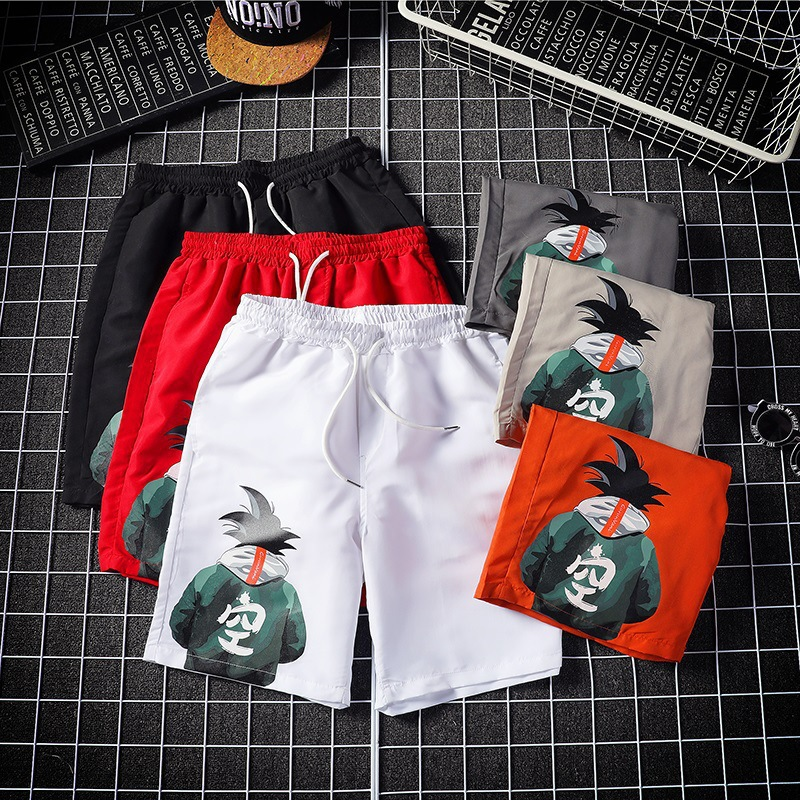 Japanese-style Goku Shorts Men's Fashion INS Summer Hip Hop 5 Shorts Popular Brand Large Size Loose-Fit Beach Shorts Couples Pan