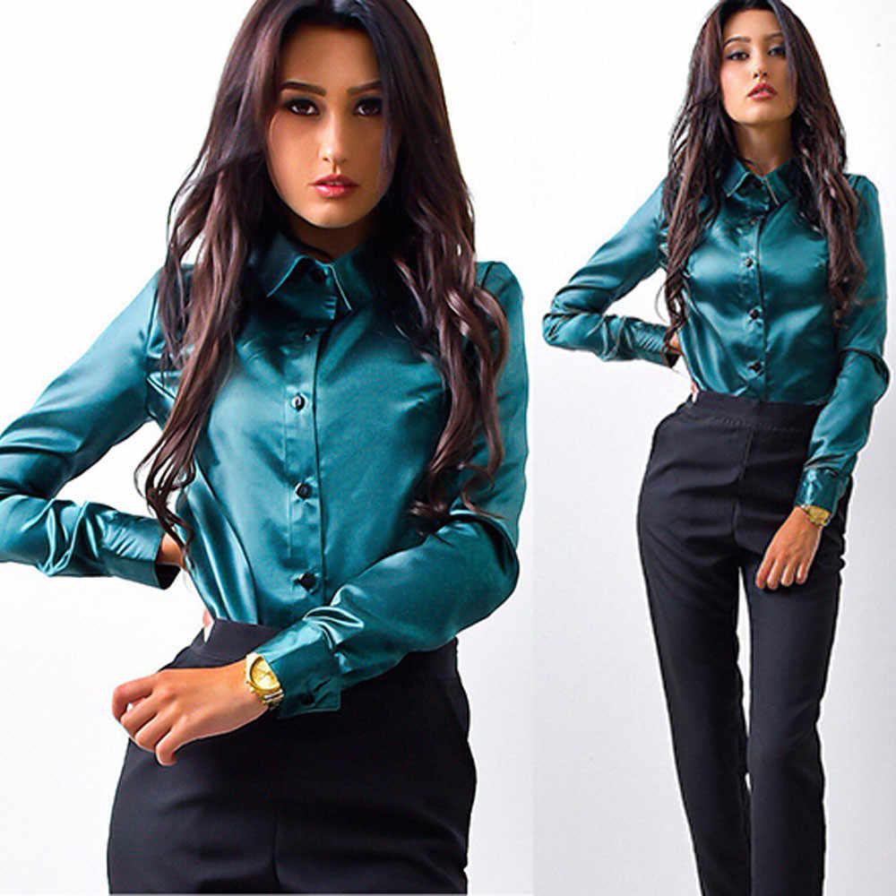 Koszula wiosenna Soild satynowa koszula z długim rękawem bluzka damska koszula z guzikami odzież do pracy Top elegancka bluzka koszule damskie 2019 sprzedaż