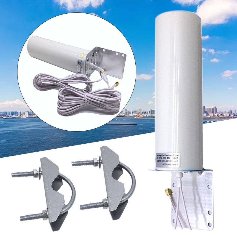 1SET Dual Wire SMA Male 2G 3G 4G LTE Outdoor Wall Mount Signal Booster Antenna Receiver Metal+Plastic W/ 5M Cable