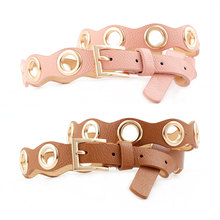2019 New Women Hip Hop Belt Gold Pin Buckle Belt PU Leather Female Casual Fashion Belt Hollow O-Ring Punk Belts for Dress Jeans недорого