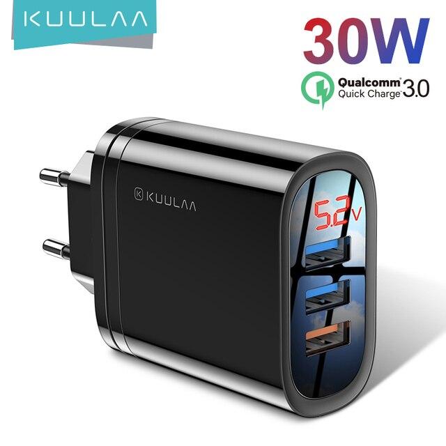 KUULAA szybka ładowarka USB dla wielu wtyczek, 30W QC3.0 QC, ładowarka do telefonu, iPhone, Samsung, Xiaomi, Huawei