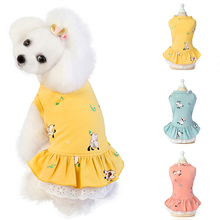 Summer Dog Printed Puppy Dog Cat Dresses Cute Sleeveless Dog Clothing Soft Cotton Pet Clothing for Dogs Cats Pets Skirt Dress