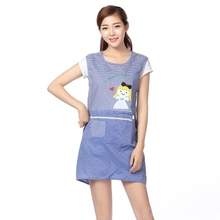 Apron shoulder vest old cloth Korean version of fashion sleeved work clothes cartoon