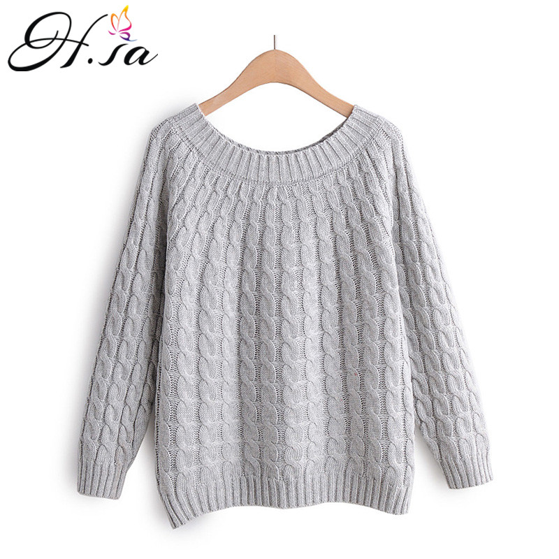 H.SA 2019 Winter Sweater Women Cheap Slim Jumpers Casual Twisted Pullovers Grey Pink Winter Clothes Women Christmas Sweater Pull