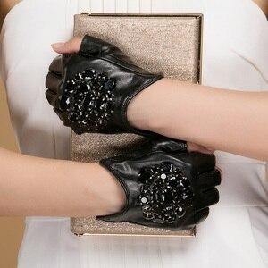 Image 2 - Gours Winter Genuine Leather Gloves Women Fashion Brand Black Stone Driving Fingerless Gloves Ladies Goatskin Mittens GSL040