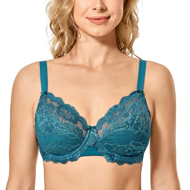 Womens Full Coverage Non padded Underwired Embroidery Floral Lace Bra Plus Size B C D DD E F G H
