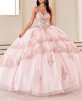 Quinceanera Dresses Ball Gown Beading Lace Appliques Crystals Mutli Layers vestido de 15 anos Sweet 16 Dresses With Jacket