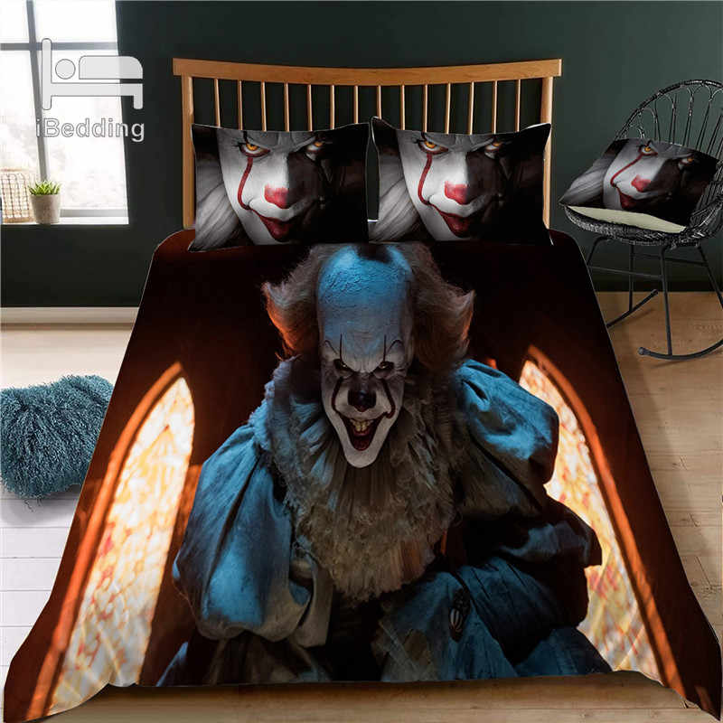 Hot Horror and Funny Pennywise The Clown 3D Bedding Set Printed Duvet Cover Set Queen King Twin Size