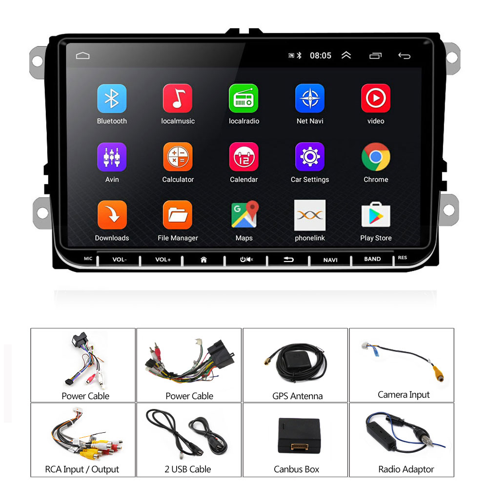 "Image 5 - Podofo 9"" Android 2din Car Radio GPS Navigation for VW Volkswagen SKODA GOLF 5 Golf 6 POLO PASSAT B5 B6 JETTA Seat Car Autoradio-in Car Multimedia Player from Automobiles & Motorcycles"
