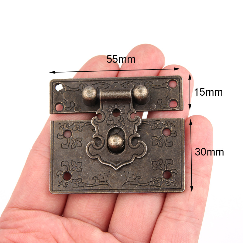 1PC 55*45mm antique style Hardware Bronze Wooden Box Cabinet Toggle Latch Hasp Gift Wine box buckle