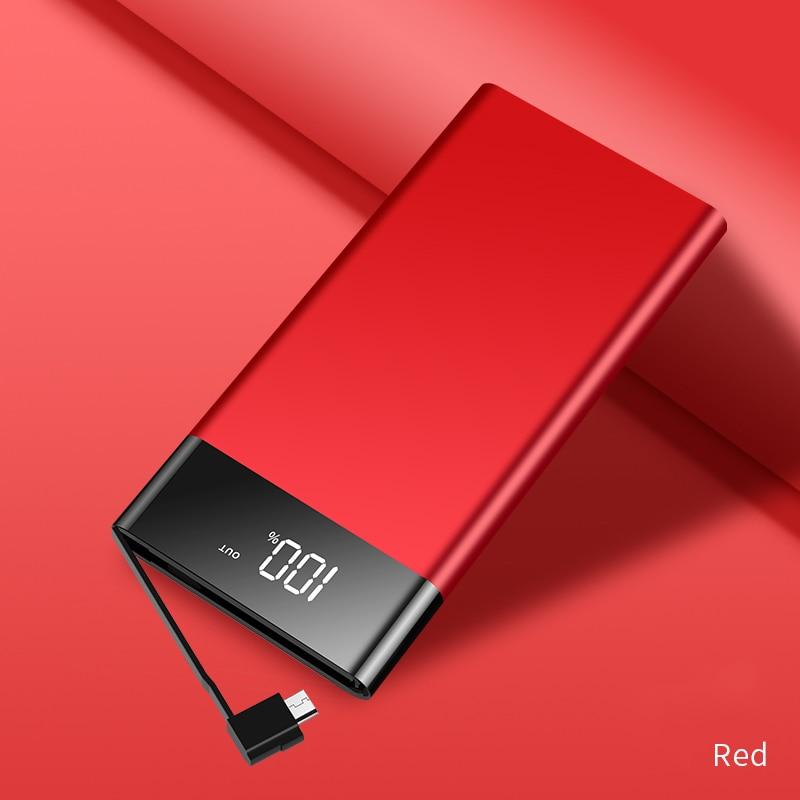 Banco do Poder 10000mAh 2.1A com Cabo forSamsungMI USB Tipo C com Cabo de Carregamento de Bateria Externa Powerbank