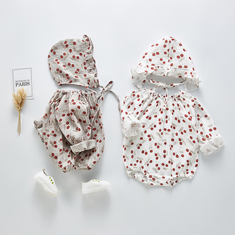 Cherry Cute Outfits Overalls Fashion Lovely 2020 Newborn Baby Spring Clothes Girl Floral Bodysuit Jumpsuit With Hat Outfits Set