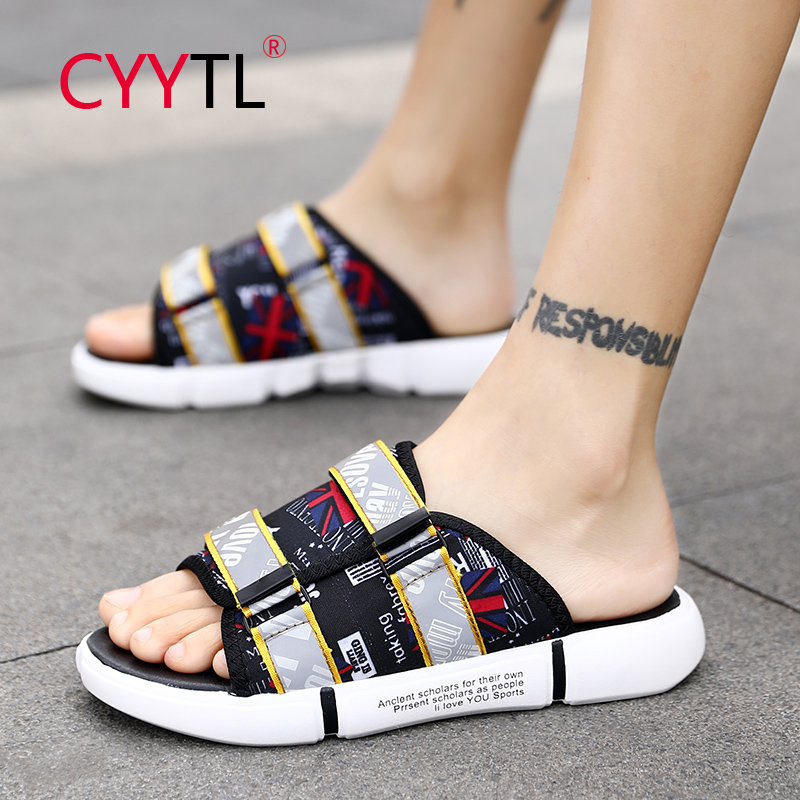 CYYTL Men Slippers Casual PU Leather Beach Slipper Sandals Summer Slip On Home Flat Bathroom Flip Flops Chinelos Masculino