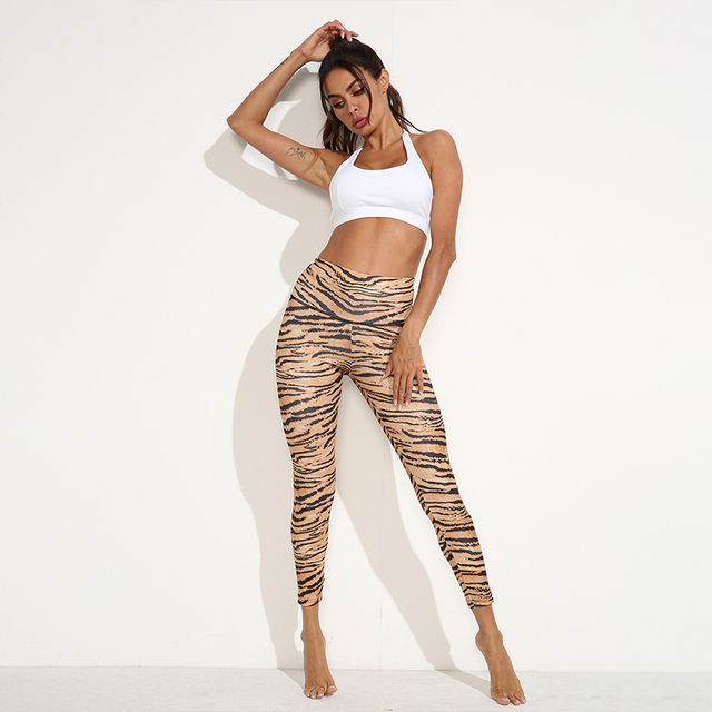CHRLEISURE Sexy Leopard Sports Pants Women Gym High Waist Push Up Sweatpant Hollow Fitness Yoga Pants Workout Training Leggings