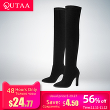 QUTAA Winter Shoes Women Boots High-Boots Slip-On Over-The-Knee Size-34-43 Thin All-Match